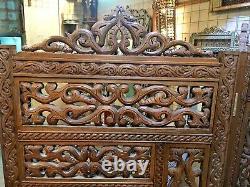 Wood 3 Panel Room Divider Screen Carving Wood