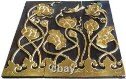 Wood Carved Wall Panels. Flying Bird with Lotus Flower Wall Decor. 36x36