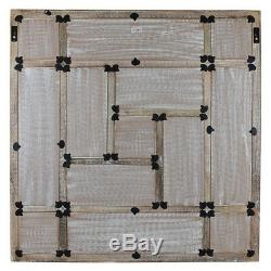 Wood Mirror with Carved Panel Design in Natural Wood and White Distress Finish