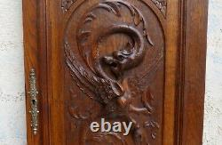 Wood Oak Carved Panel Chimera Griffin Gargoyle French Gothic wall slavage
