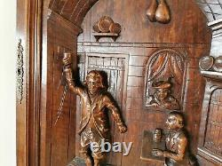 Wood Walnut Carved Panel French Gothic Wall Furniture Slavage Tavern Scene door
