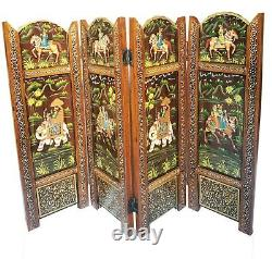 Wooden partition 4 Panel Hand made Folding Wicker Home Decor Ornament Gift