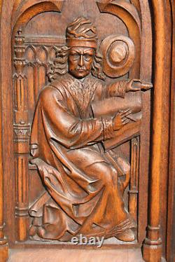 XL french antique wood carved neo gothic elements saint figurine panel wall